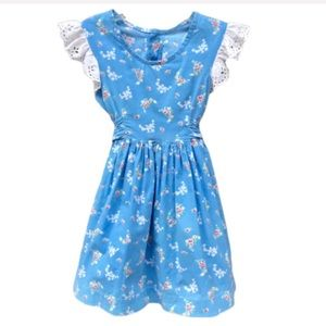 Other - Blue Floral w/ White Eyelet Sleeves Dress Girls 3T